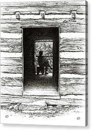 Acrylic Print featuring the drawing Walker Sisters' Cabin Door by Bob  George