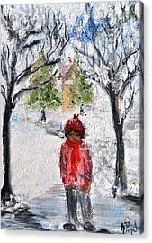 Walking Alone Acrylic Print by Evelina Popilian