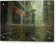 Walking In The Rain Acrylic Print by Carol and Mike Werner