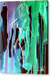 Acrylic Print featuring the painting Walking In The Rain by Julie Lueders