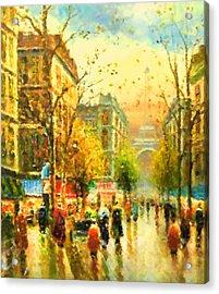 Walking In The Rain Acrylic Print by Georgiana Romanovna