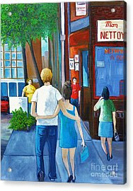Walking On A Sunny Day Acrylic Print by Reb Frost