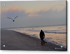 Walking On The Beach - Cape May Acrylic Print by Bill Cannon