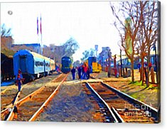 Walking On The Train Tracks In Old Sacramento California . Painterly Acrylic Print by Wingsdomain Art and Photography