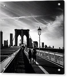 Walking Over The Brooklyn Bridge - New York City Acrylic Print