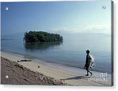Acrylic Print featuring the photograph Walking The Beach At Dawn Barahona Dominican Republic by John  Mitchell