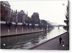 Acrylic Print featuring the photograph Walking The Dog Along The Seine by Tom Wurl