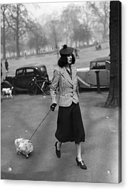 Walking The Dog Acrylic Print by H F Davis