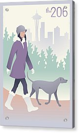 Walking The Dog In Seattle Acrylic Print