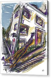 Walking The Dog On Dolores Street Acrylic Print by Russell Pierce