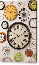 Wall Clocks Acrylic Print by Garry Gay