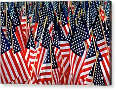 Wall Of Us Flags Acrylic Print by Carolyn Marshall