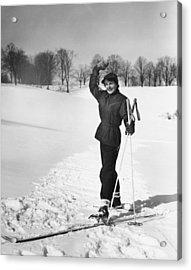 Wan Cross-country Skiing, Waving, (b&w) Acrylic Print by George Marks