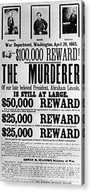 Wanted Poster For John Surratt, John Acrylic Print by Everett