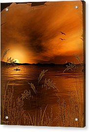 Warmth Ablaze - Gold Art Acrylic Print by Lourry Legarde
