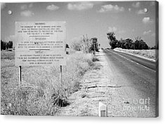 warning road sign warning of the border of the turkish military controlled area of the SBA Sovereign Acrylic Print by Joe Fox