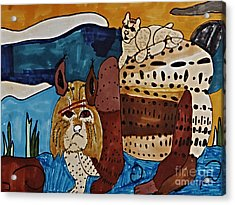Wary Bobcat Acrylic Print by Stephanie Ward