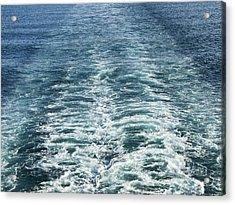 Wash Behind A Cross-channel Ferry Acrylic Print by Adrian Bicker