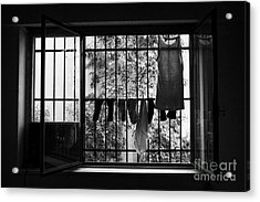 Washing Hanging Off Security Cage In An Apartment In Buenos Aires Acrylic Print by Joe Fox