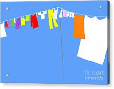 Acrylic Print featuring the digital art Washing Line Simplified Edition by Barbara Moignard