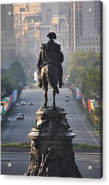 Washington Looking Down The Parkway - Philadelphia Acrylic Print by Bill Cannon