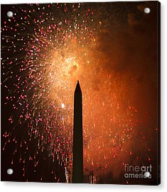 Washington Monument And Fireworks I Acrylic Print by Phil Bolles