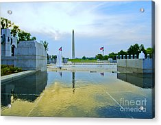 Acrylic Print featuring the photograph Washington Monument And The World War II Memorial by Jim Moore