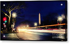 Washington Monument On A Rainy Rush Hour Acrylic Print