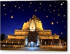 Wat Chedi Luang Acrylic Print by Anek Suwannaphoom