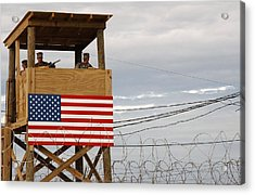 Watch Tower Security Teams At Camp Acrylic Print by Everett