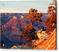 Acrylic Print featuring the photograph Watching The Sun Set On The Grand Canyon by Cindy Wright