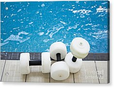 Water Floats At Poolside Acrylic Print by Marlene Ford
