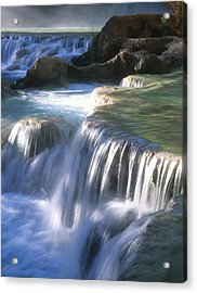 Water Flowes Over Travertine Formations Acrylic Print by Bill Hatcher