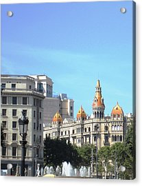 Water Fountain And Architecture In Barcelona Spain Acrylic Print by John Shiron