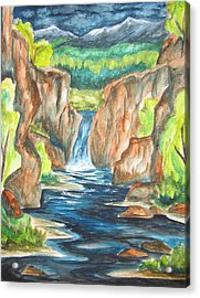 Acrylic Print featuring the painting Water From The Rockies by Cheryl Pettigrew