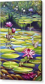 Water Lilies At Mckee Gardens II - Butterfly And Frog Acrylic Print