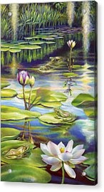 Water Lilies At Mckee Gardens IIi - Alligator And Frogs Acrylic Print by Nancy Tilles