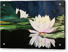 Acrylic Print featuring the painting Water Lillies by Teresa Beyer
