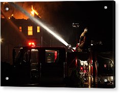 Acrylic Print featuring the photograph Water On The Fire From Pumper Truck by Daniel Reed