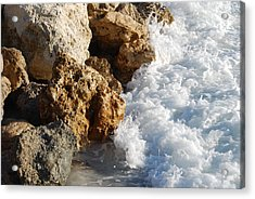 Water On The Rocks Acrylic Print by Carrie Munoz
