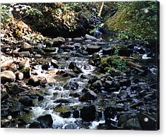 Water Over Rocks Acrylic Print by Maureen E Ritter
