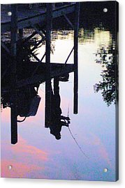 Water Reflection Of A Fisherman Acrylic Print by Judy Via-Wolff