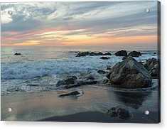 Water Washing Up On The Beach Acrylic Print by Keith Levit