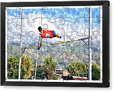 Watercoler Puzzle Design Of Pole Vault Jump Acrylic Print by John Vito Figorito
