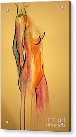Acrylic Print featuring the painting Watercolor Nude by Julie Lueders