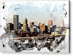 Watercolor Of Downtown Portland Acrylic Print by Cathie Tyler