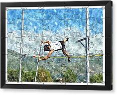 Watercolor Puzzle Design Of Pole Vault Jump Acrylic Print by John Vito Figorito