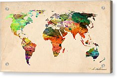 Watercolor World Map  Acrylic Print