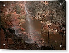 Waterfall In Zion Park Acrylic Print