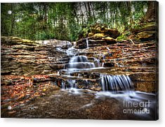 Waterfall On Small Creek Going Into The Big Sandy River Acrylic Print by Dan Friend
